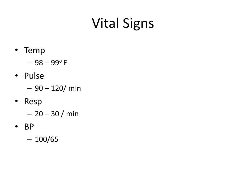 Vital Signs Temp – 98 – 99 o F Pulse – 90 – 120/ min Resp – 20 – 30 / min BP – 100/65