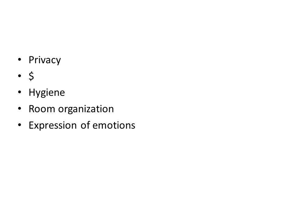 Privacy $ Hygiene Room organization Expression of emotions