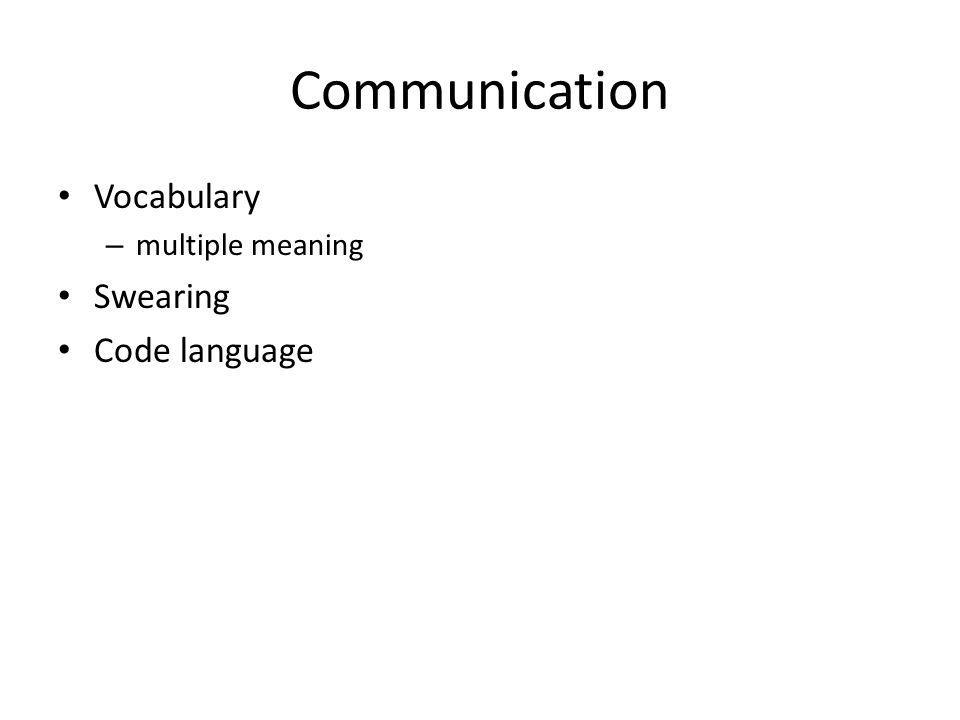 Communication Vocabulary – multiple meaning Swearing Code language