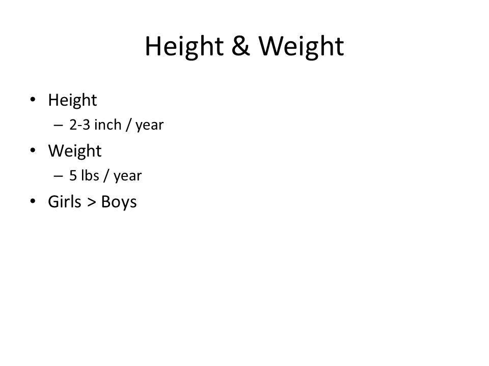 Height & Weight Height – 2-3 inch / year Weight – 5 lbs / year Girls > Boys