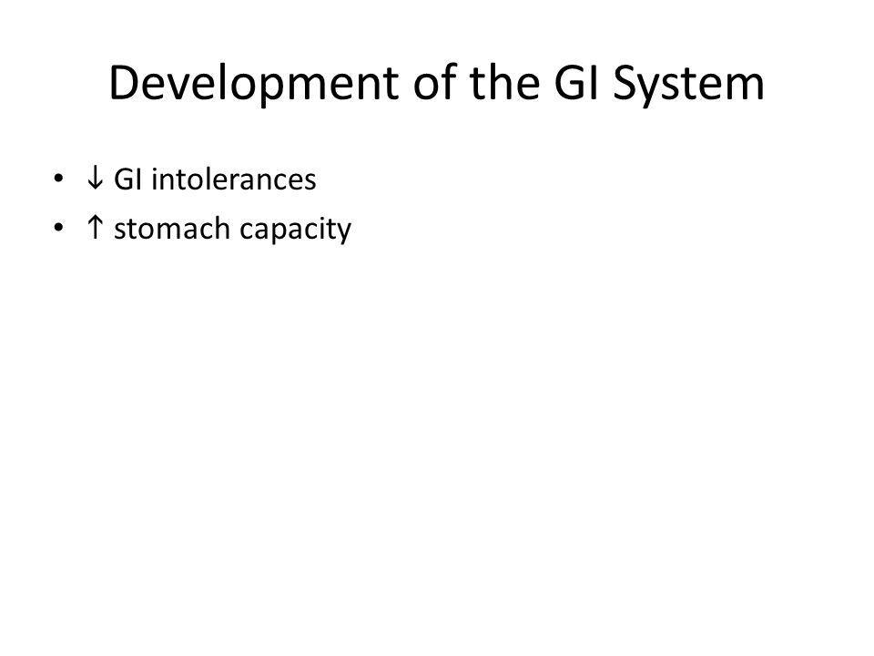 Development of the GI System GI intolerances stomach capacity