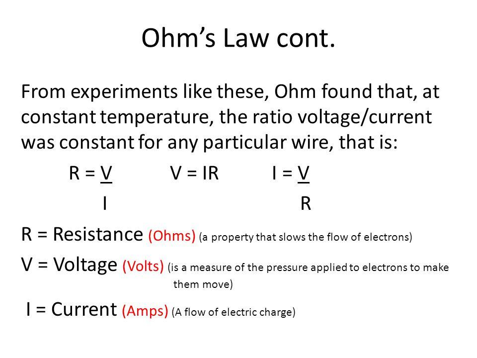 Ohms Law cont.