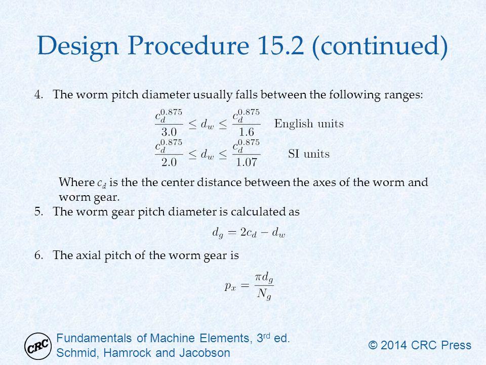 Fundamentals of Machine Elements, 3 rd ed. Schmid, Hamrock and Jacobson © 2014 CRC Press Design Procedure 15.2 (continued) 4.The worm pitch diameter u