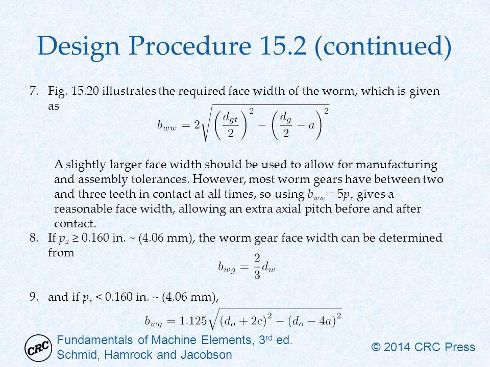 Fundamentals of Machine Elements, 3 rd ed. Schmid, Hamrock and Jacobson © 2014 CRC Press Design Procedure 15.2 (continued) 7.Fig. 15.20 illustrates th