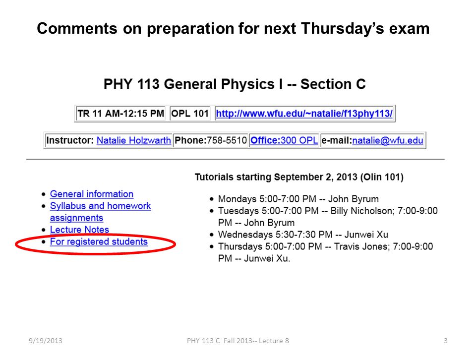 9/19/2013PHY 113 C Fall 2013-- Lecture 824 Example: Model potential energy function U(x) representing the attraction of two atoms