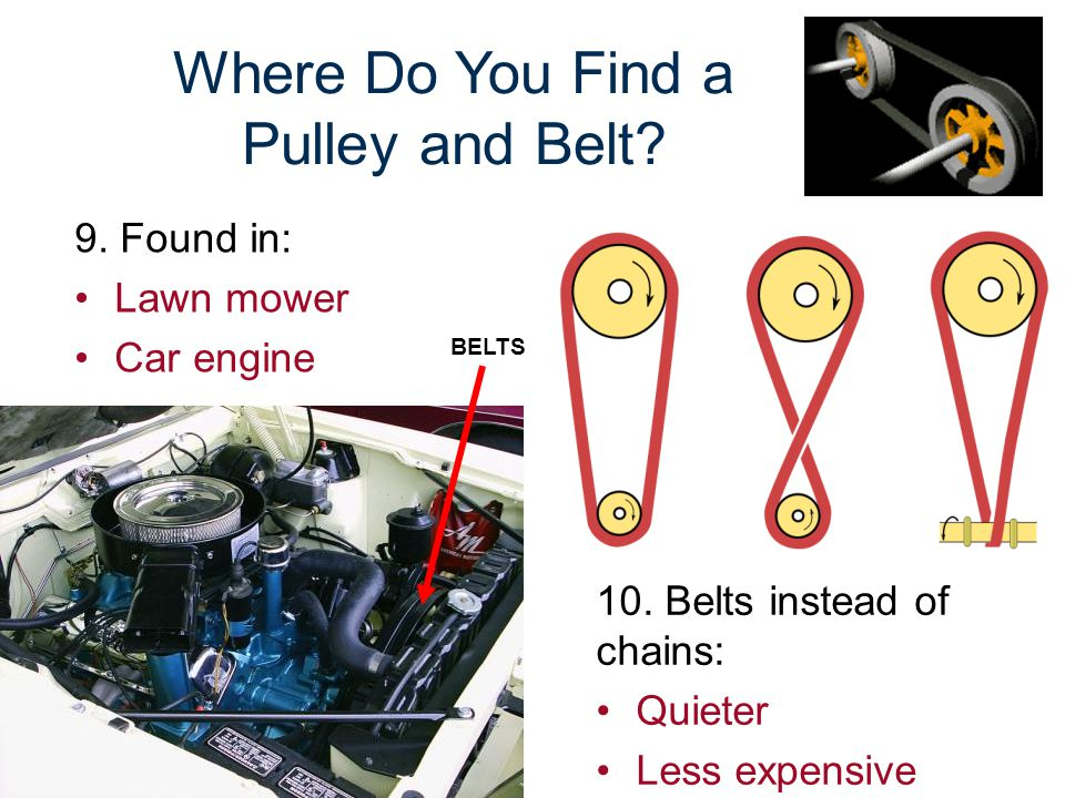 Where Do You Find a Pulley and Belt? 9. Found in: Lawn mower Car engine BELTS 10. Belts instead of chains: Quieter Less expensive
