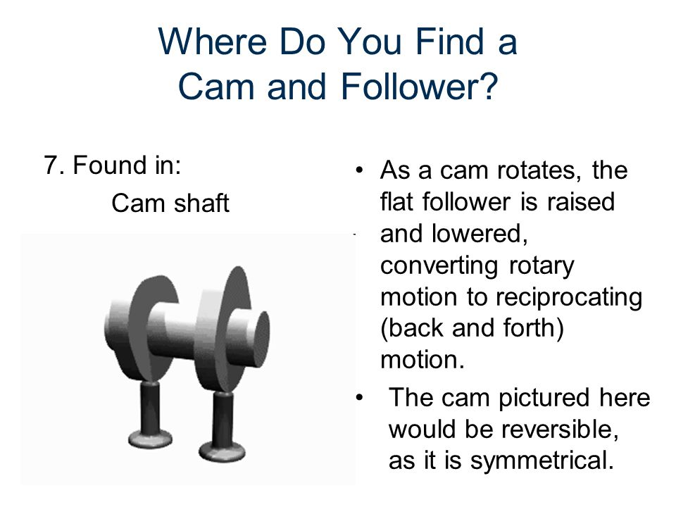 Where Do You Find a Cam and Follower? As a cam rotates, the flat follower is raised and lowered, converting rotary motion to reciprocating (back and f