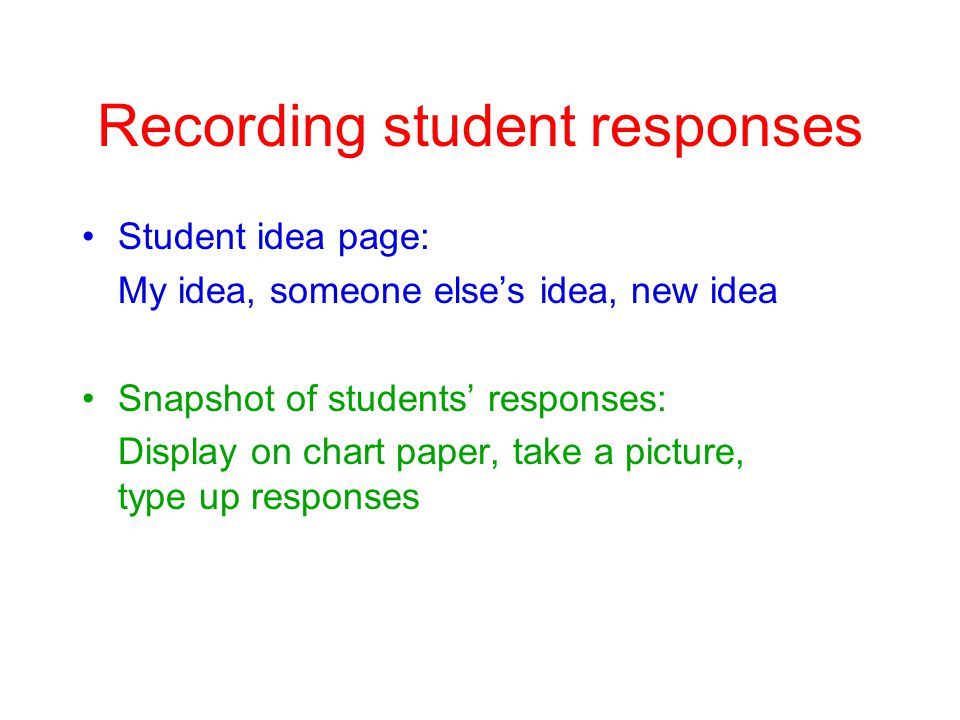 Recording student responses Student idea page: My idea, someone elses idea, new idea Snapshot of students responses: Display on chart paper, take a picture, type up responses
