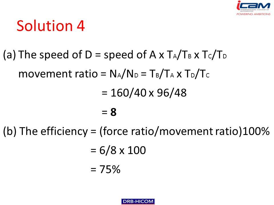 Solution 4 (a)The speed of D = speed of A x T A /T B x T C /T D movement ratio = N A /N D = T B /T A x T D /T C = 160/40 x 96/48 = 8 (b) The efficienc