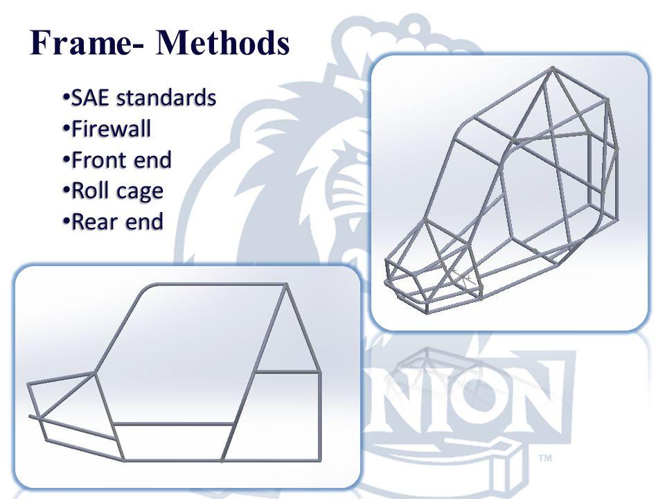 Frame- Methods SAE standards SAE standards Firewall Firewall Front end Front end Roll cage Roll cage Rear end Rear end