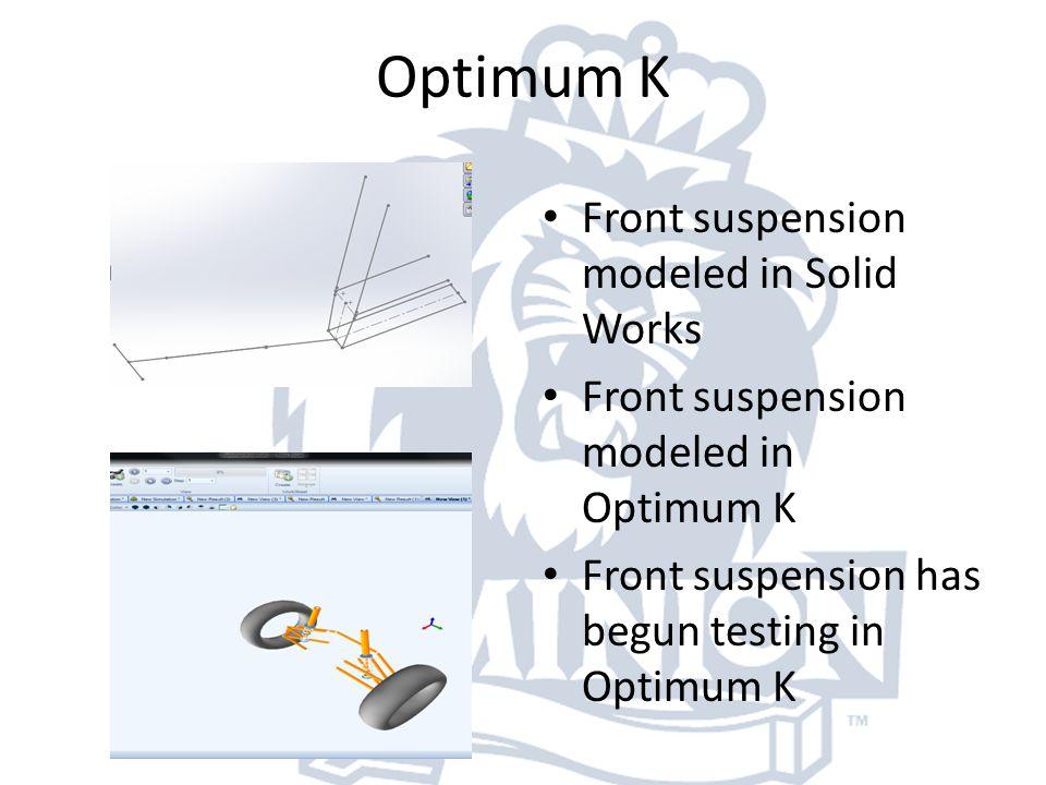Optimum K Front suspension modeled in Solid Works Front suspension modeled in Optimum K Front suspension has begun testing in Optimum K