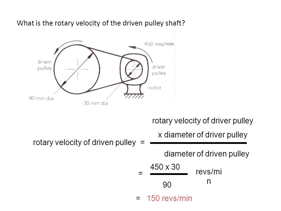 What is the rotary velocity of the driven pulley shaft? rotary velocity of driven pulley = rotary velocity of driver pulley x diameter of driver pulle