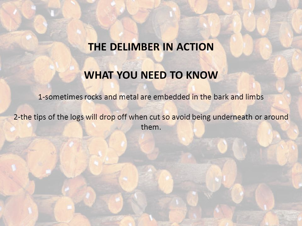 THE DELIMBER IN ACTION WHAT YOU NEED TO KNOW 1-sometimes rocks and metal are embedded in the bark and limbs 2-the tips of the logs will drop off when cut so avoid being underneath or around them.