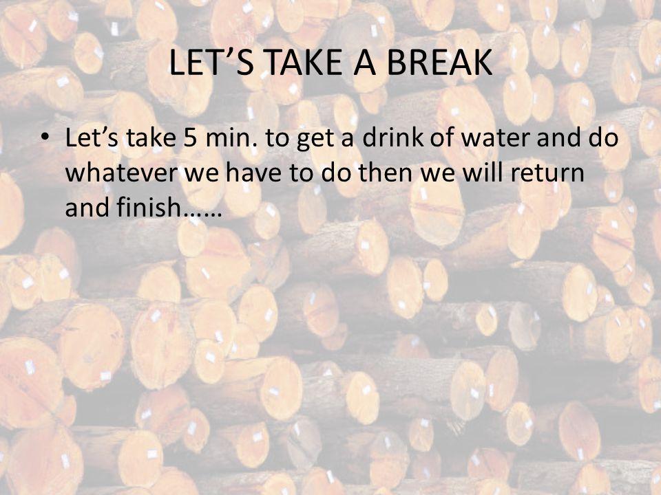 LETS TAKE A BREAK Lets take 5 min.