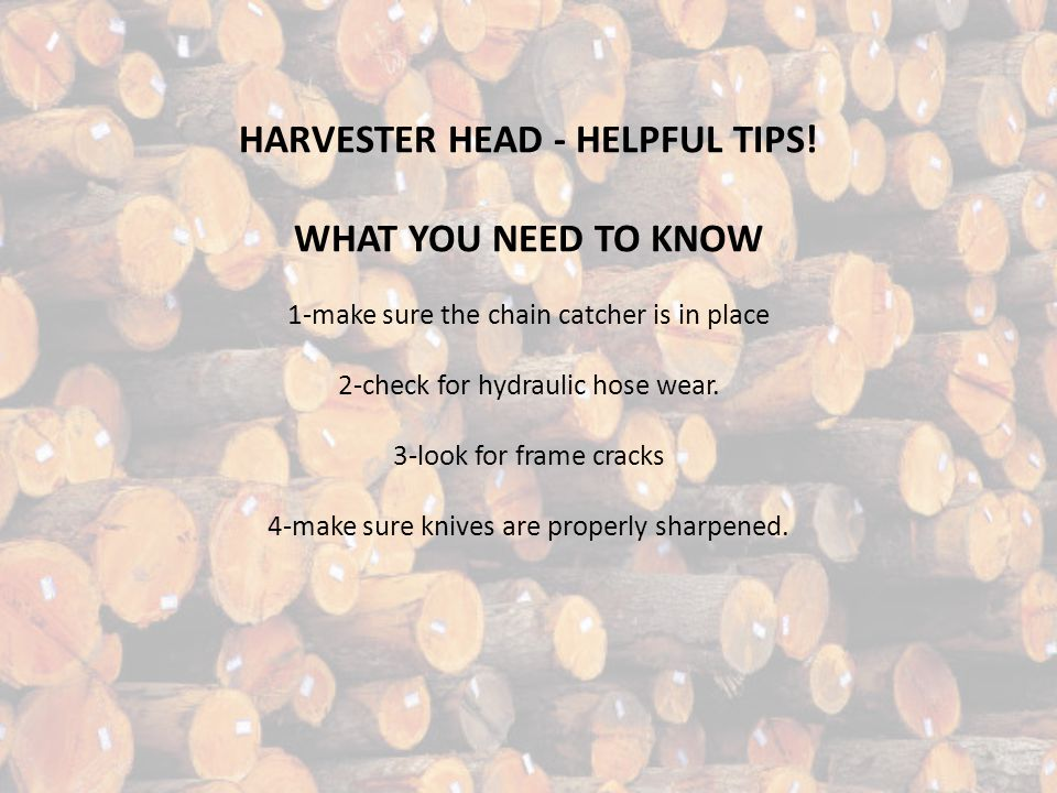 HARVESTER HEAD - HELPFUL TIPS! WHAT YOU NEED TO KNOW 1-make sure the chain catcher is in place 2-check for hydraulic hose wear. 3-look for frame crack