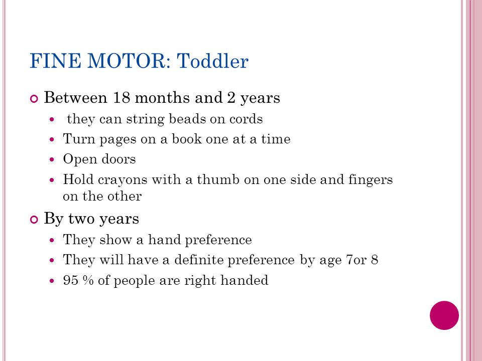 FINE MOTOR: Toddler Between 18 months and 2 years they can string beads on cords Turn pages on a book one at a time Open doors Hold crayons with a thumb on one side and fingers on the other By two years They show a hand preference They will have a definite preference by age 7or 8 95 % of people are right handed