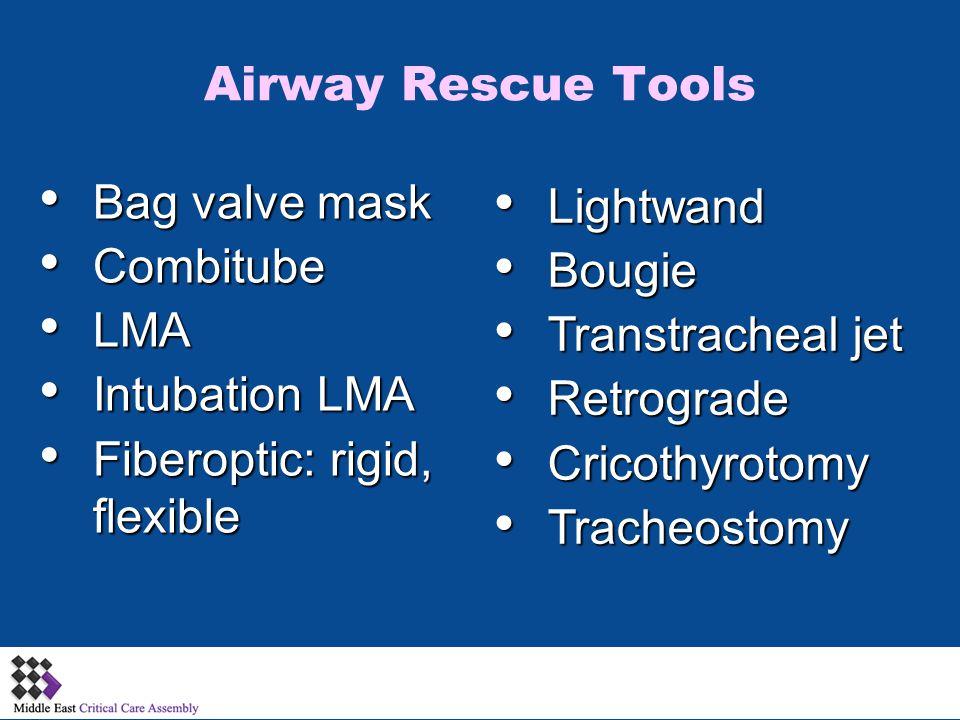Bag valve mask Bag valve mask Combitube Combitube LMA LMA Intubation LMA Intubation LMA Fiberoptic: rigid, flexible Fiberoptic: rigid, flexible Lightw