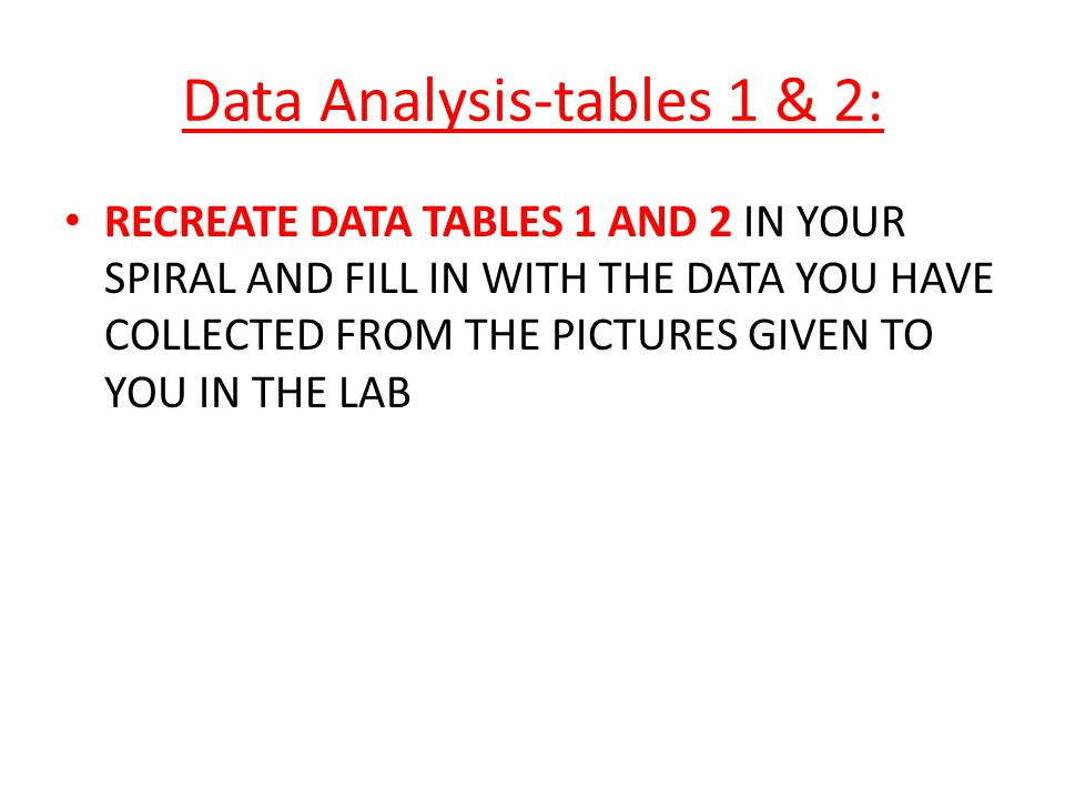 Data Analysis-tables 1 & 2: RECREATE DATA TABLES 1 AND 2 IN YOUR SPIRAL AND FILL IN WITH THE DATA YOU HAVE COLLECTED FROM THE PICTURES GIVEN TO YOU IN