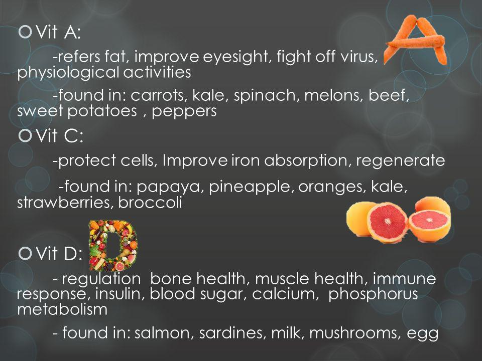 Vit A: -refers fat, improve eyesight, fight off virus, physiological activities -found in: carrots, kale, spinach, melons, beef, sweet potatoes, peppers Vit C: -protect cells, Improve iron absorption, regenerate -found in: papaya, pineapple, oranges, kale, strawberries, broccoli Vit D: - regulation bone health, muscle health, immune response, insulin, blood sugar, calcium, phosphorus metabolism - found in: salmon, sardines, milk, mushrooms, egg