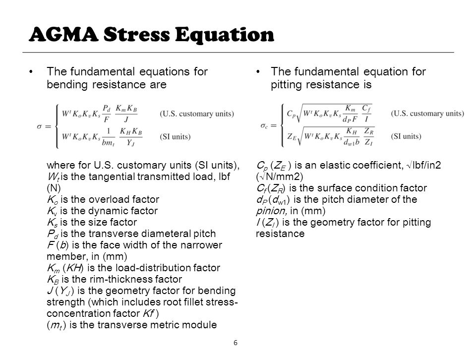 6 AGMA Stress Equation The fundamental equations for bending resistance are where for U.S. customary units (SI units), W t is the tangential transmitt