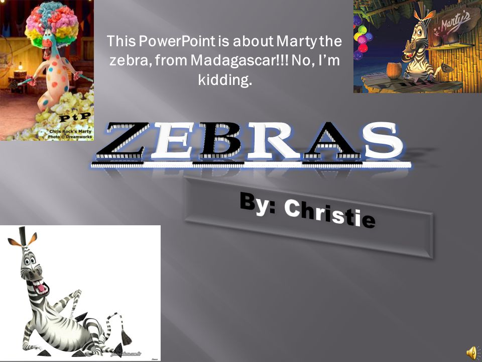 This PowerPoint is about Marty the zebra, from Madagascar!!! No, Im kidding.