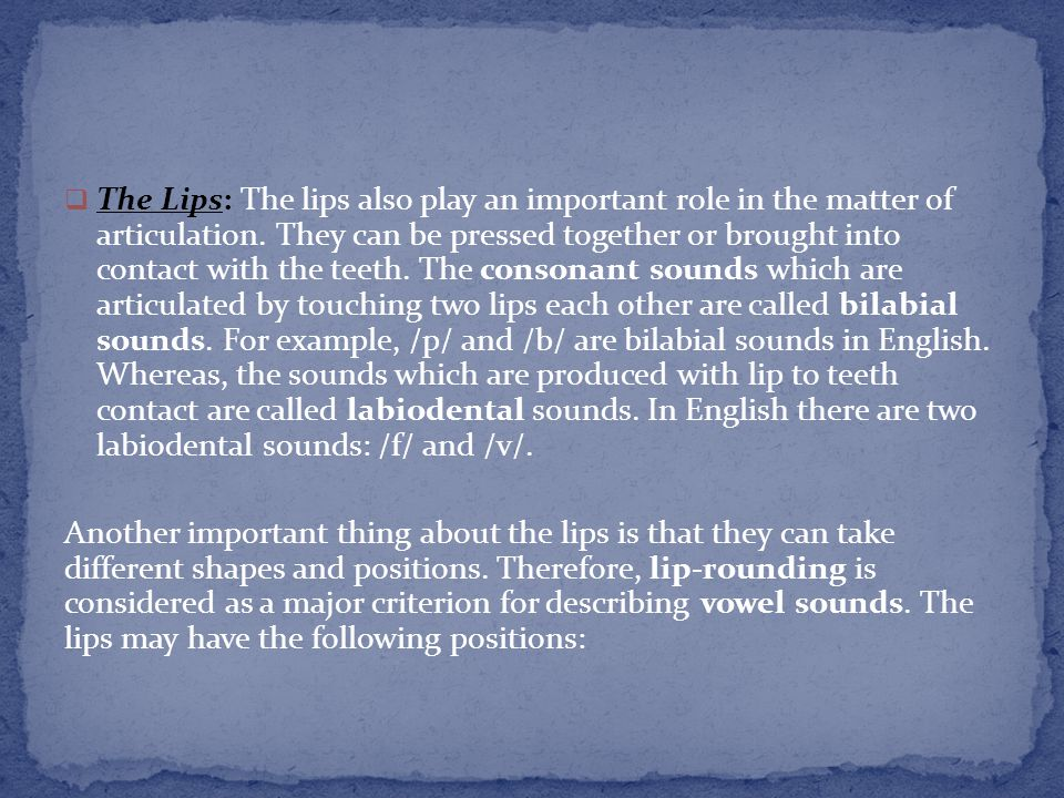 The Lips: The lips also play an important role in the matter of articulation. They can be pressed together or brought into contact with the teeth. The