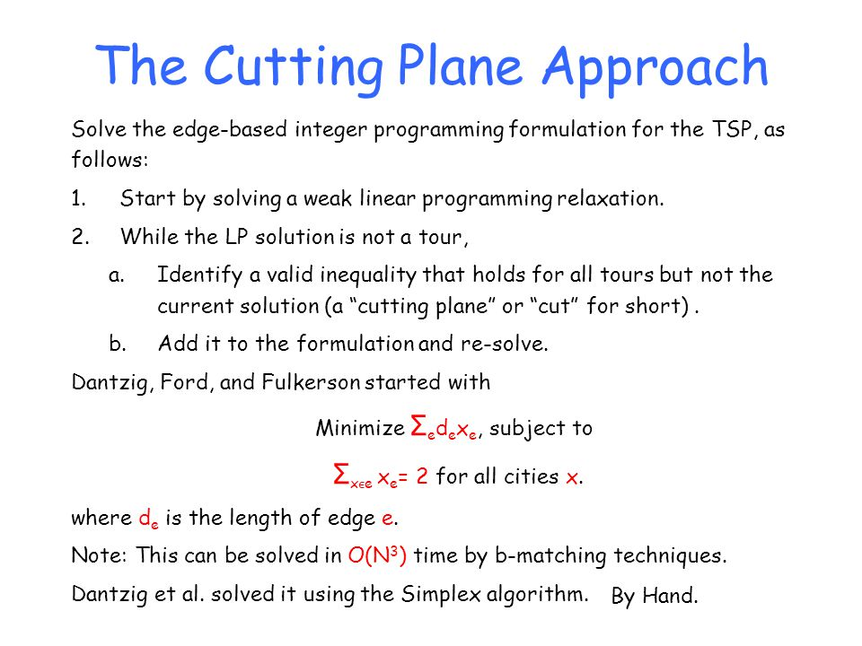 The Cutting Plane Approach Solve the edge-based integer programming formulation for the TSP, as follows: 1.Start by solving a weak linear programming
