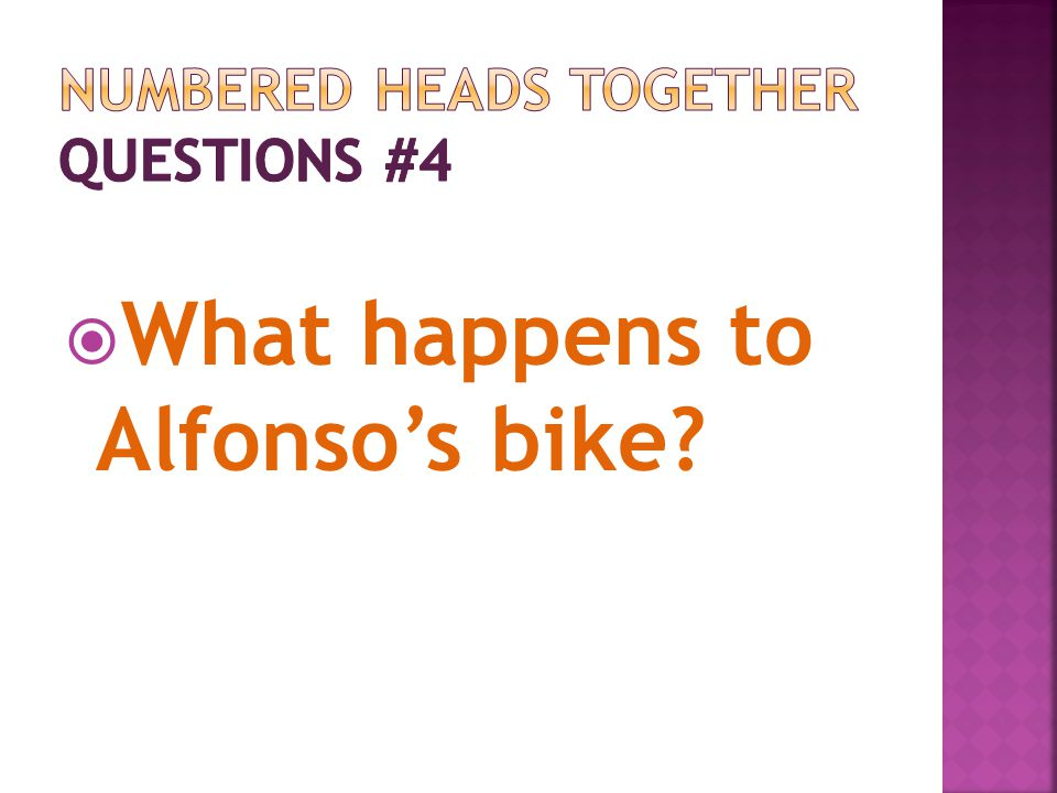 What happens to Alfonsos bike?