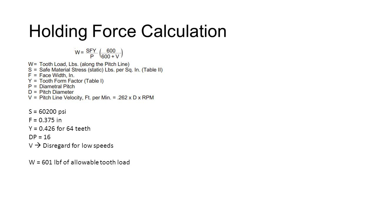 Holding Force Calculation S = 60200 psi F = 0.375 in Y = 0.426 for 64 teeth DP = 16 V Disregard for low speeds W = 601 lbf of allowable tooth load