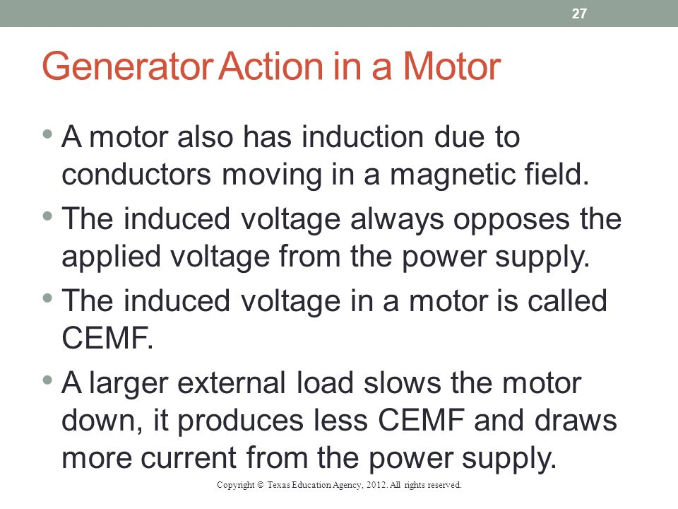 Generator Action in a Motor A motor also has induction due to conductors moving in a magnetic field. The induced voltage always opposes the applied vo