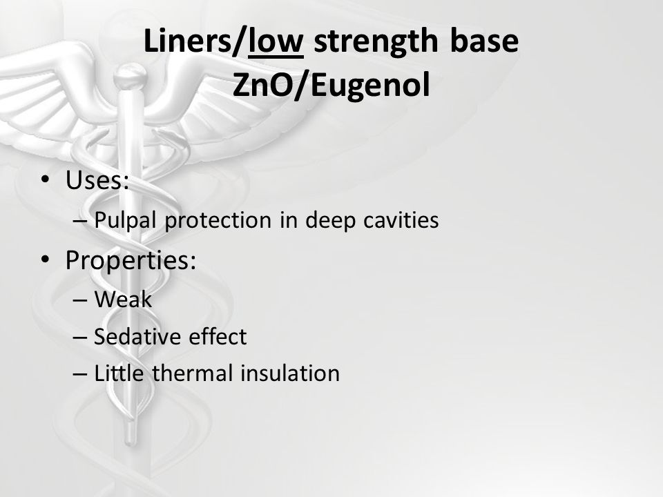 Zinc polycarboxylate Uses: – High strength base – Final cementation of indirect restorations Composition: – Powder: zinc oxide – Liquid: polyacrylic acid