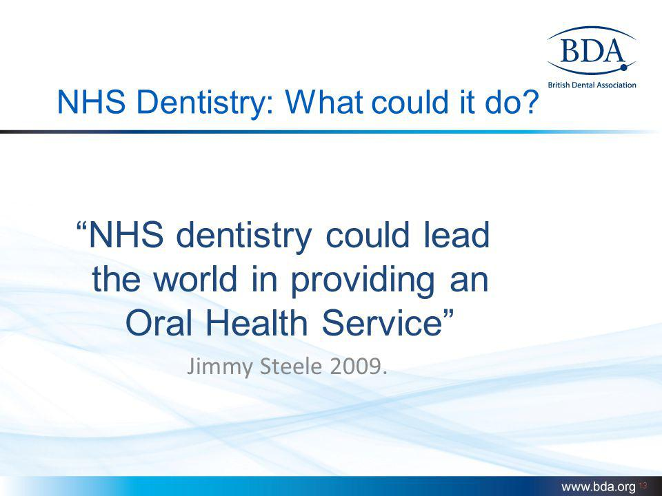 13 NHS Dentistry: What could it do? NHS dentistry could lead the world in providing an Oral Health Service Jimmy Steele 2009.