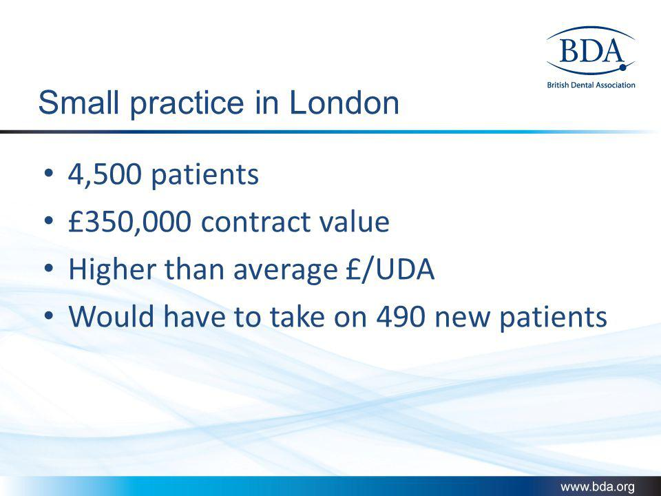 Small practice in London 4,500 patients £350,000 contract value Higher than average £/UDA Would have to take on 490 new patients