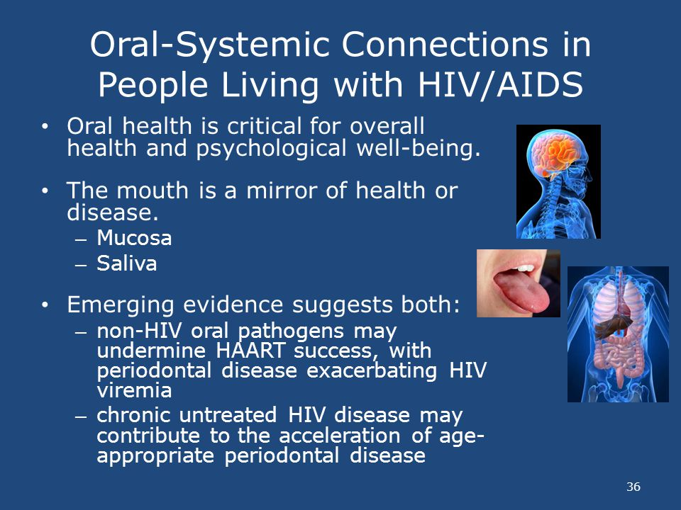 Oral-Systemic Connections in People Living with HIV/AIDS 36 Oral health is critical for overall health and psychological well-being. The mouth is a mi