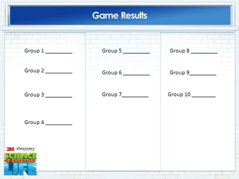 Game Results Group 1 _________ Group 2 _________ Group 3 _________ Group 4 _________ Group 5 _________ Group 6 _________ Group 7_________Group 10 ________ Group 8 _________ Group 9_________