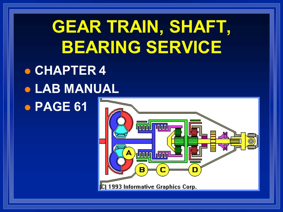 GEAR TRAIN, SHAFT, BEARING SERVICE l CHAPTER 4 l LAB MANUAL l PAGE 61
