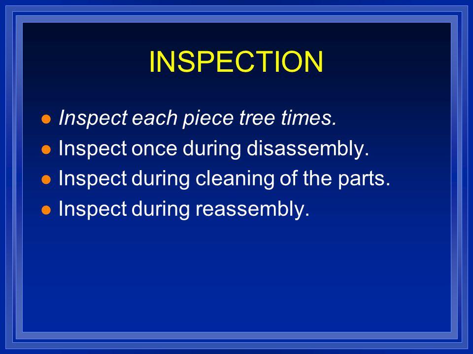INSPECTION l Inspect each piece tree times. l Inspect once during disassembly. l Inspect during cleaning of the parts. l Inspect during reassembly.