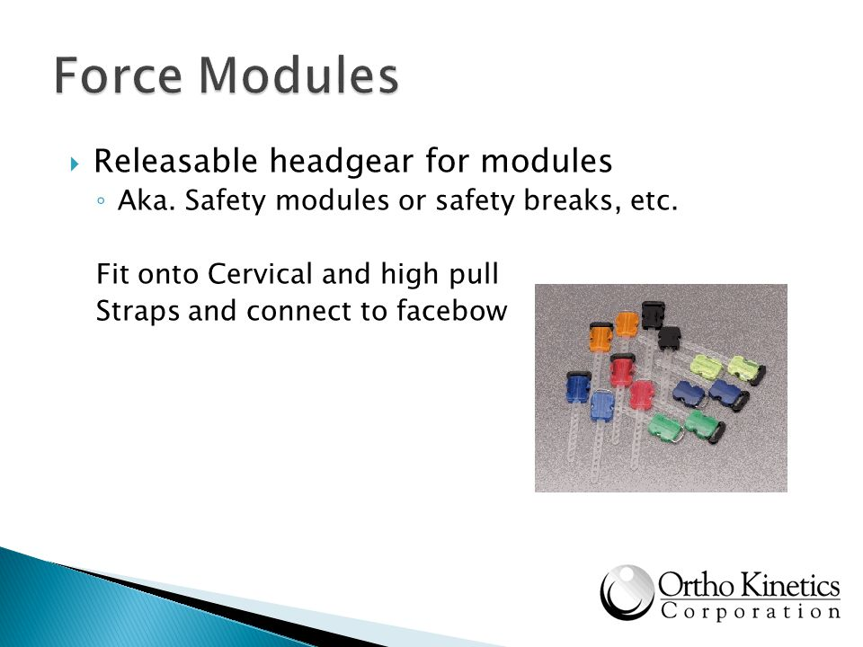 Releasable headgear for modules Aka. Safety modules or safety breaks, etc. Fit onto Cervical and high pull Straps and connect to facebow