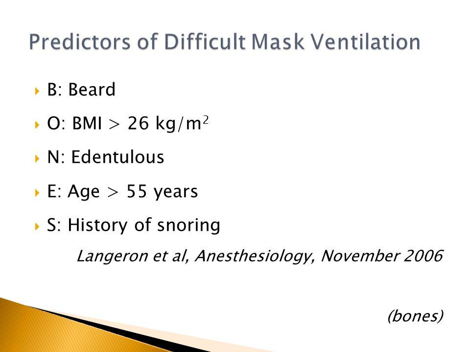 B: Beard O: BMI > 26 kg/m 2 N: Edentulous E: Age > 55 years S: History of snoring Langeron et al, Anesthesiology, November 2006 (bones)