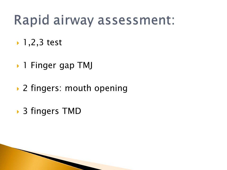 1,2,3 test 1 Finger gap TMJ 2 fingers: mouth opening 3 fingers TMD