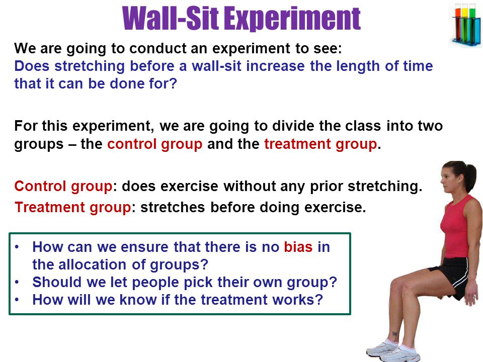 Wall-Sit Experiment A wall-sit is done like this: stand with your back against a wall and lower yourself until your thighs are parallel to the floor.