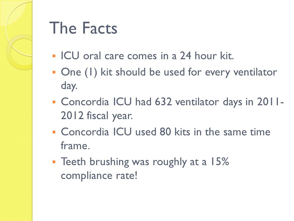 The Facts ICU oral care comes in a 24 hour kit. One (1) kit should be used for every ventilator day. Concordia ICU had 632 ventilator days in 2011- 20