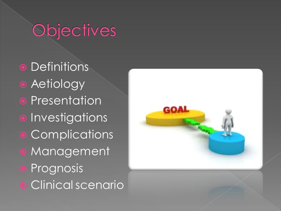Definitions Aetiology Presentation Investigations Complications Management Prognosis Clinical scenario