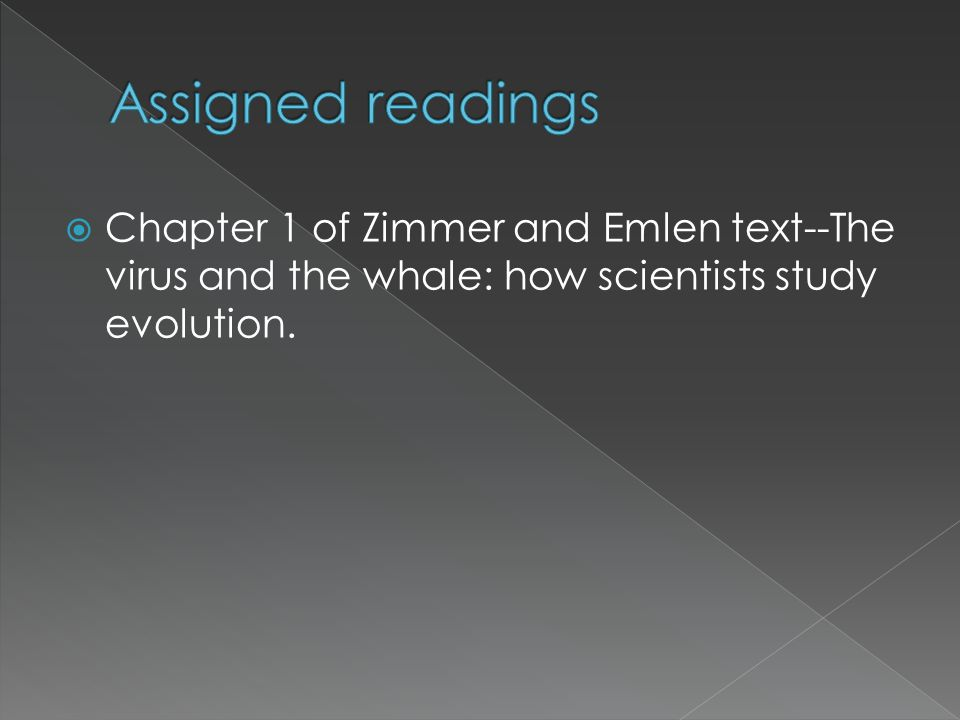 Chapter 1 of Zimmer and Emlen text--The virus and the whale: how scientists study evolution.