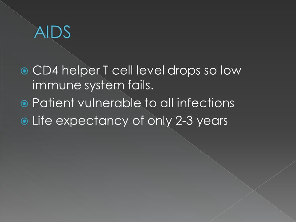 CD4 helper T cell level drops so low immune system fails. Patient vulnerable to all infections Life expectancy of only 2-3 years
