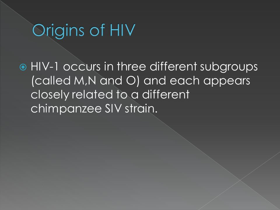 HIV-1 occurs in three different subgroups (called M,N and O) and each appears closely related to a different chimpanzee SIV strain.