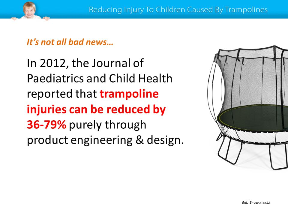 In 2012, the Journal of Paediatrics and Child Health reported that trampoline injuries can be reduced by 36-79% purely through product engineering & d