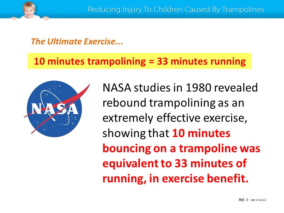 NASA studies in 1980 revealed rebound trampolining as an extremely effective exercise, showing that 10 minutes bouncing on a trampoline was equivalent