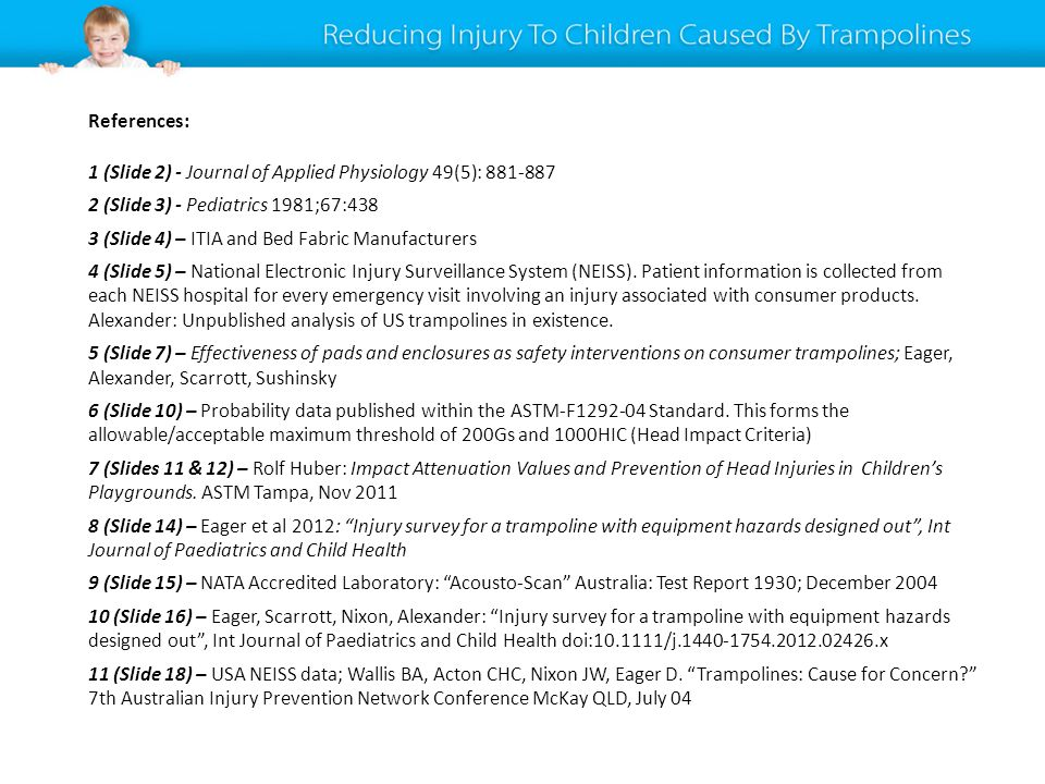 References: 1 (Slide 2) - Journal of Applied Physiology 49(5): 881-887 2 (Slide 3) - Pediatrics 1981;67:438 3 (Slide 4) – ITIA and Bed Fabric Manufacturers 4 (Slide 5) – National Electronic Injury Surveillance System (NEISS).