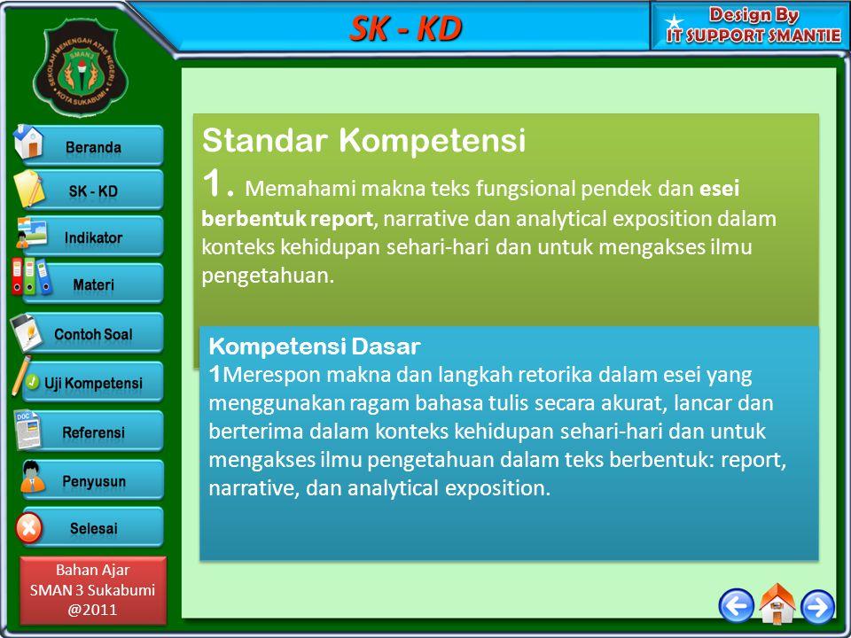 Bahan Ajar SMAN 3 Sukabumi @2011 Bahan Ajar SMAN 3 Sukabumi @2011 SK - KD Standar Kompetensi 1.